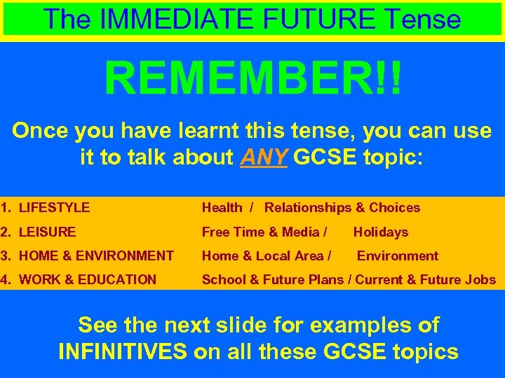 The IMMEDIATE FUTURE Tense REMEMBER!! Once you have learnt this tense, you can use