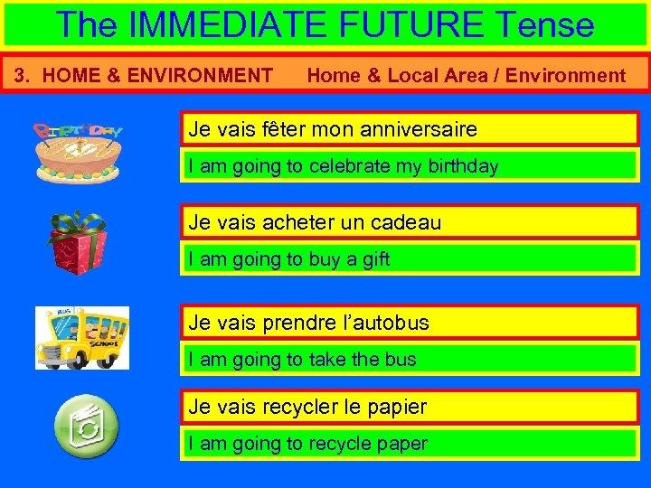 The IMMEDIATE FUTURE Tense 3. HOME & ENVIRONMENT Home & Local Area / Environment