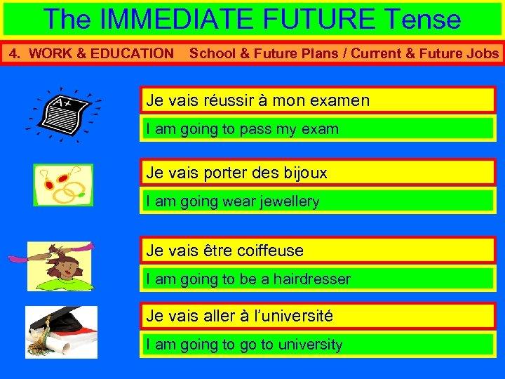 The IMMEDIATE FUTURE Tense 4. WORK & EDUCATION School & Future Plans / Current