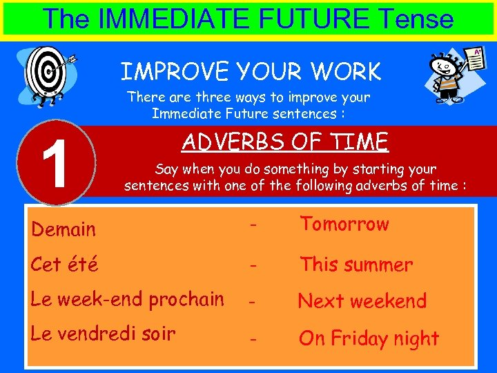 The IMMEDIATE FUTURE Tense IMPROVE YOUR WORK There are three ways to improve your