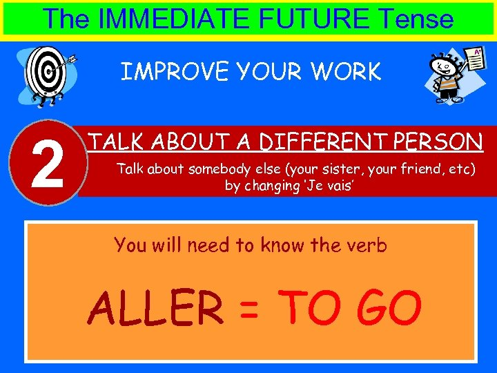 The IMMEDIATE FUTURE Tense IMPROVE YOUR WORK 2 TALK ABOUT A DIFFERENT PERSON Talk