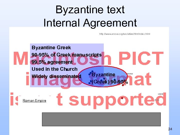 Byzantine text Internal Agreement http: //www. anova. org/sev/atlas/htm/index. html Byzantine Greek 90 -95% of