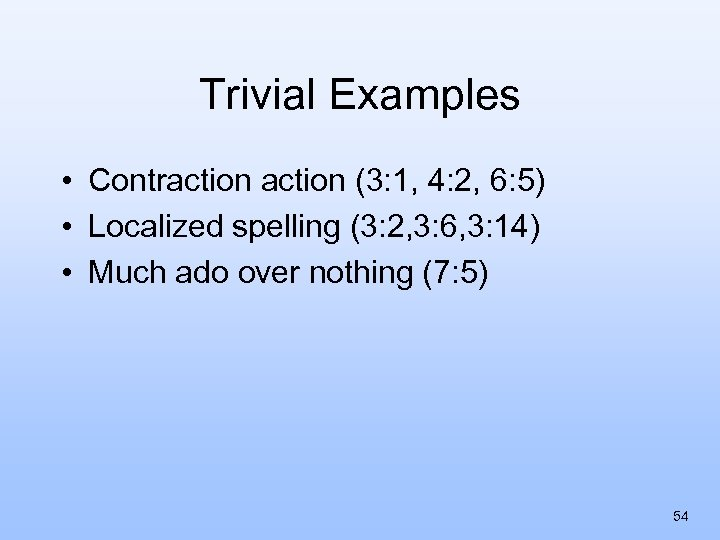 Trivial Examples • Contraction (3: 1, 4: 2, 6: 5) • Localized spelling (3: