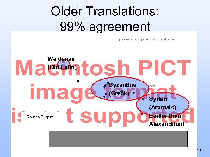 Older Translations: 99% agreement http: //www. anova. org/sev/atlas/htm/index. html Waldense (Old Latin) Byzantine (Greek)