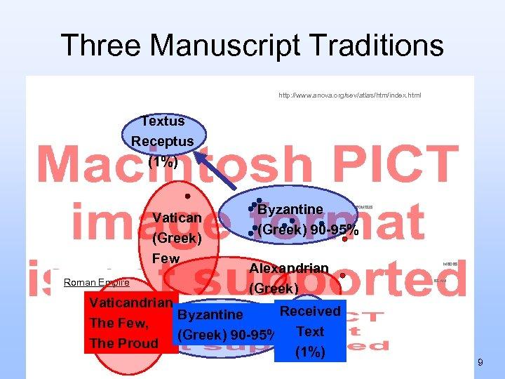 Three Manuscript Traditions http: //www. anova. org/sev/atlas/htm/index. html Textus Receptus (1%) Byzantine (Greek) 90