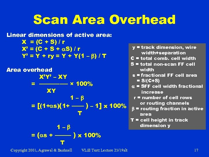 Scan Area Overhead Linear dimensions of active area: X = (C + S) /