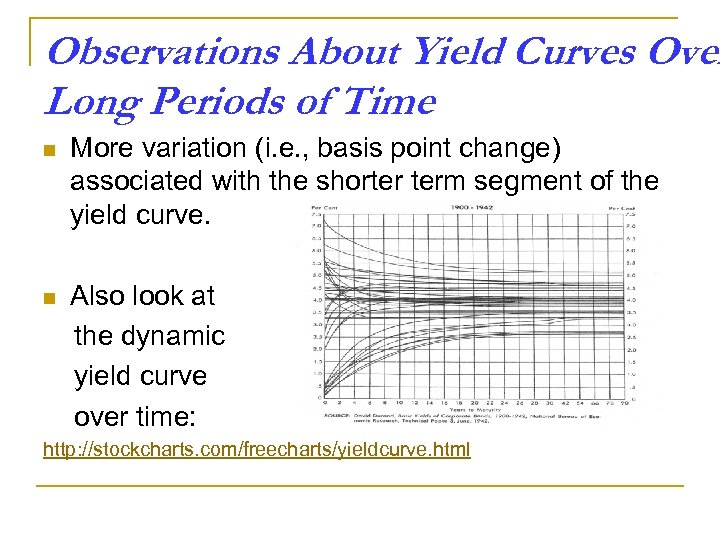 Observations About Yield Curves Over Long Periods of Time n More variation (i. e.