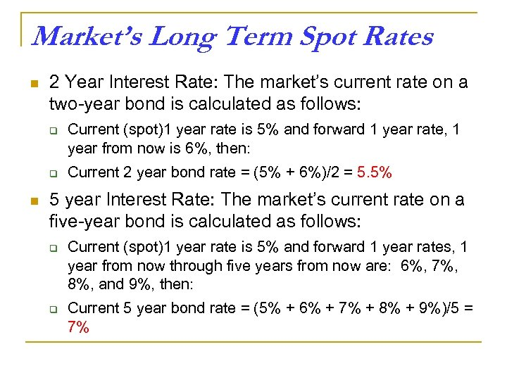 Market's Long Term Spot Rates n 2 Year Interest Rate: The market's current rate