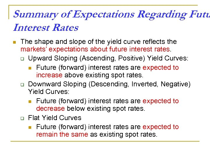 Summary of Expectations Regarding Futu Interest Rates n The shape and slope of the