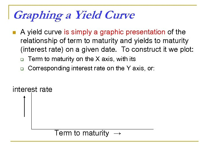 Graphing a Yield Curve n A yield curve is simply a graphic presentation of