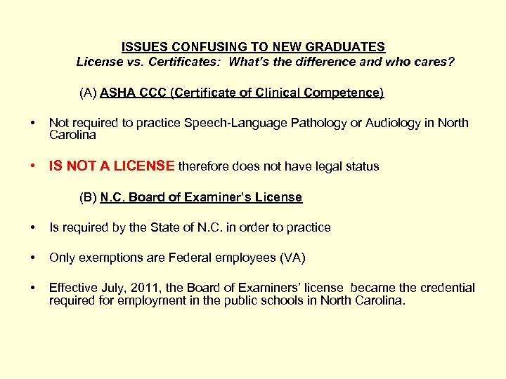 ISSUES CONFUSING TO NEW GRADUATES License vs. Certificates: What's the difference and who cares?