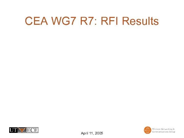 CEA WG 7 R 7: RFI Results April 11, 2005