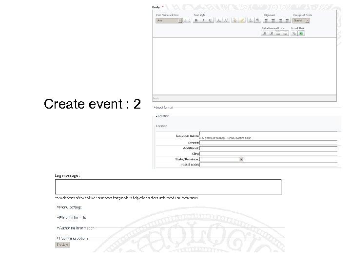 Create event : 2