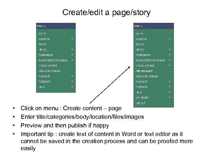 Create/edit a page/story • • Click on menu : Create content – page Enter