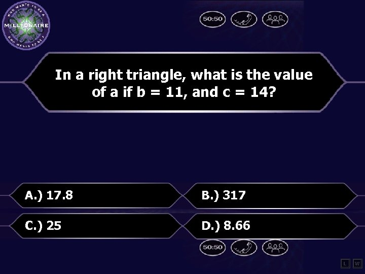 In a right triangle, what is the value of a if b = 11,