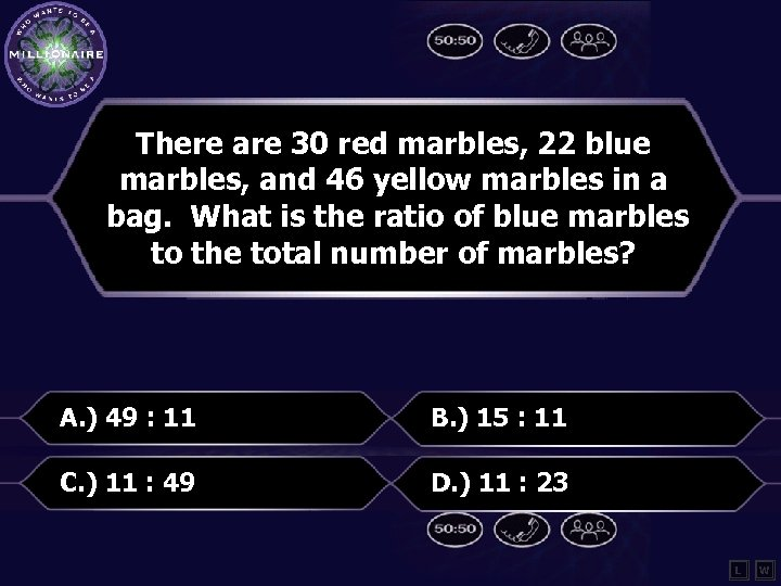 There are 30 red marbles, 22 blue marbles, and 46 yellow marbles in a