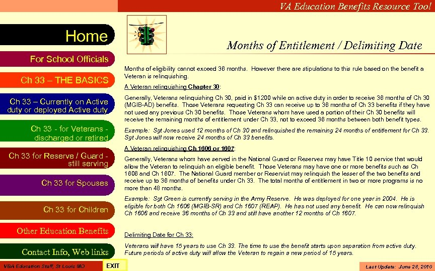 VA Education Benefits Resource Tool Home Months of Entitlement / Delimiting Date For School