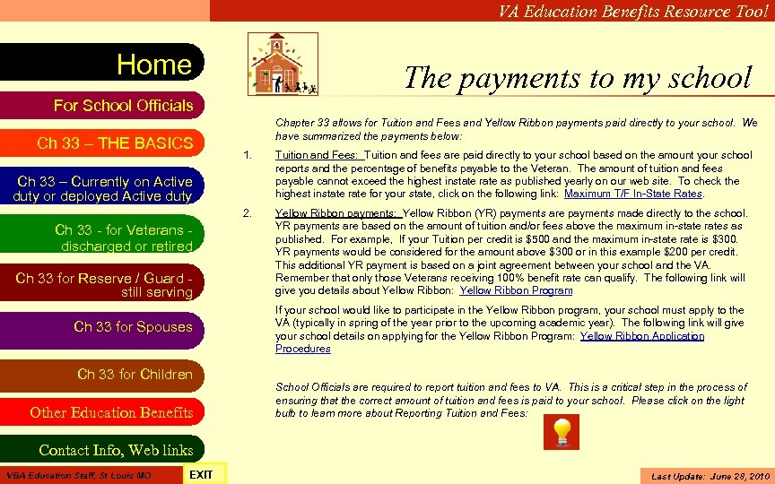 VA Education Benefits Resource Tool Home The payments to my school For School Officials
