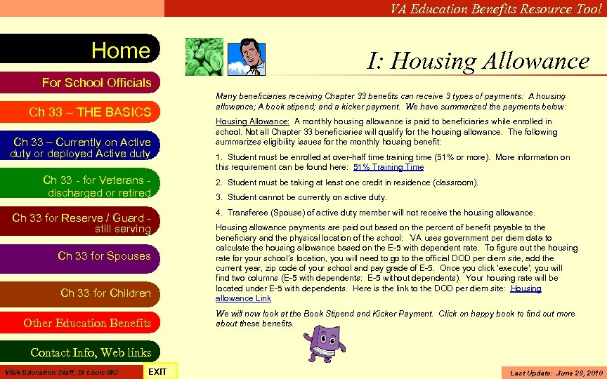 VA Education Benefits Resource Tool Home I: Housing Allowance For School Officials Ch 33
