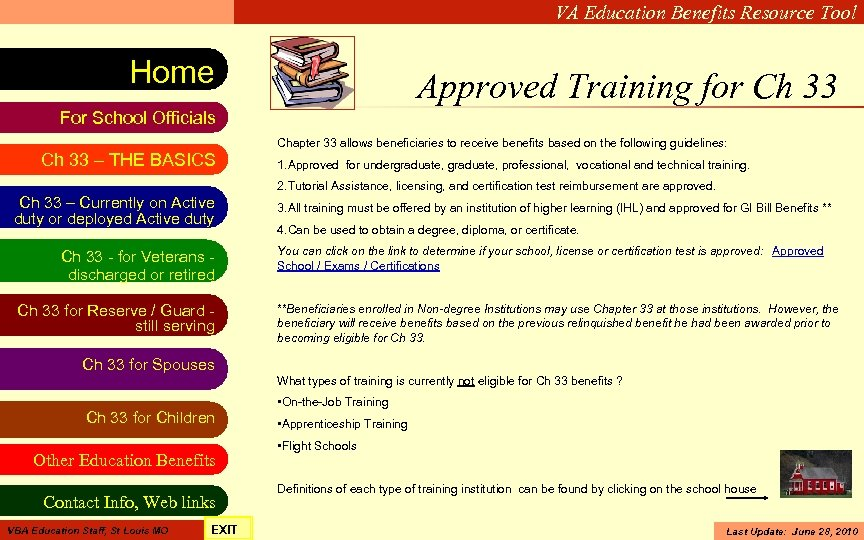 VA Education Benefits Resource Tool Home Approved Training for Ch 33 For School Officials