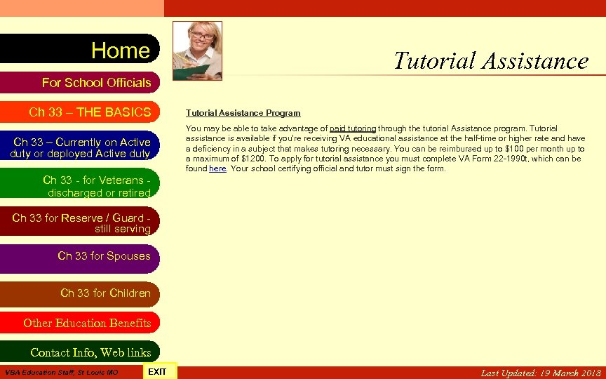 VA Education Benefits Resource Tool Home Tutorial Assistance For School Officials Ch 33 –