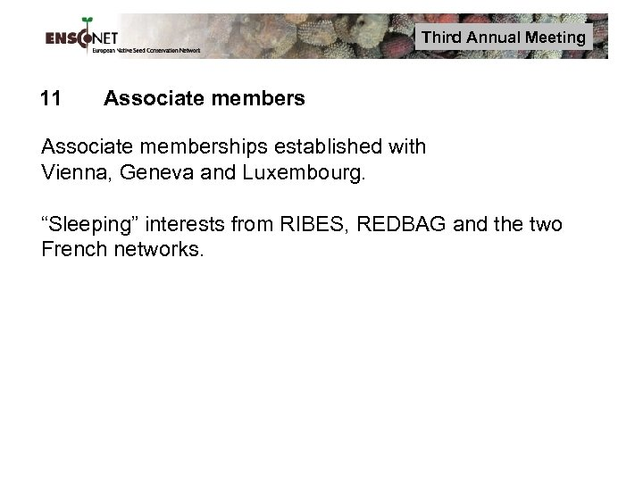 """Third Annual Meeting 11 Associate memberships established with Vienna, Geneva and Luxembourg. """"Sleeping"""" interests"""