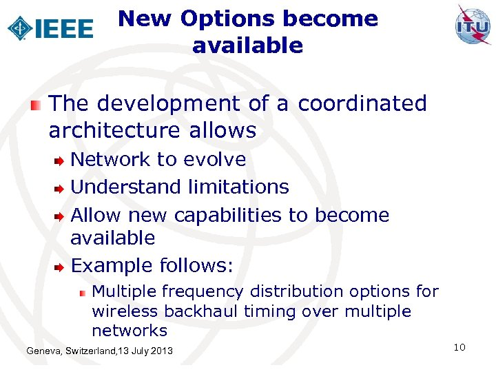 New Options become available The development of a coordinated architecture allows Network to evolve