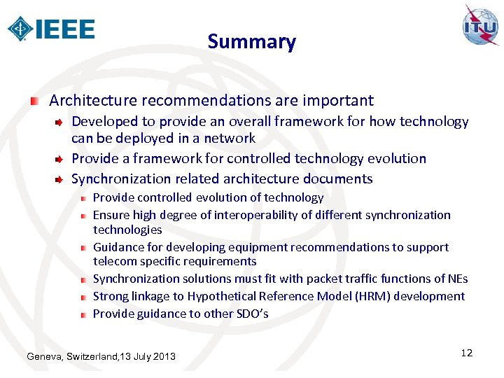 Summary Architecture recommendations are important Developed to provide an overall framework for how technology