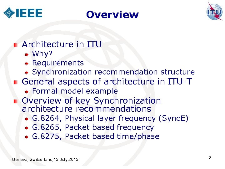 Overview Architecture in ITU Why? Requirements Synchronization recommendation structure General aspects of architecture in