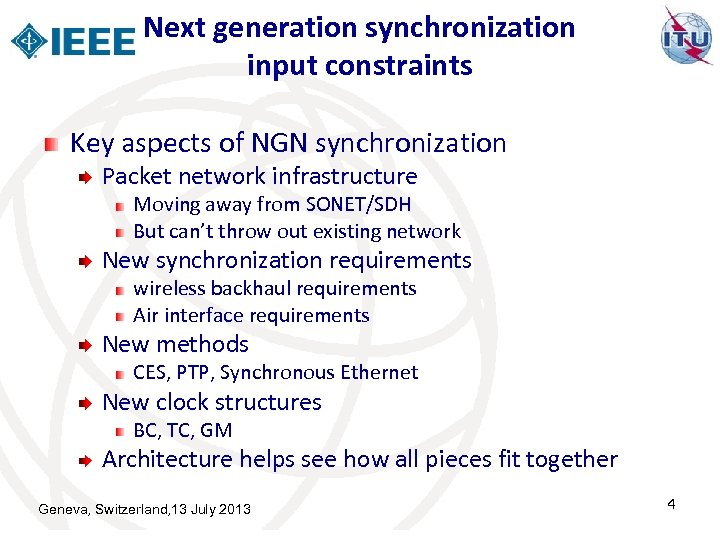 Next generation synchronization input constraints Key aspects of NGN synchronization Packet network infrastructure Moving