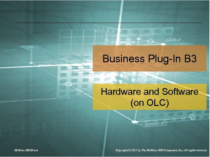 Business Plug-In B 3 Hardware and Software (on OLC) Mc. Graw-Hill/Irwin Copyright © 2013