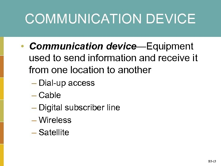 COMMUNICATION DEVICE • Communication device—Equipment used to send information and receive it from one