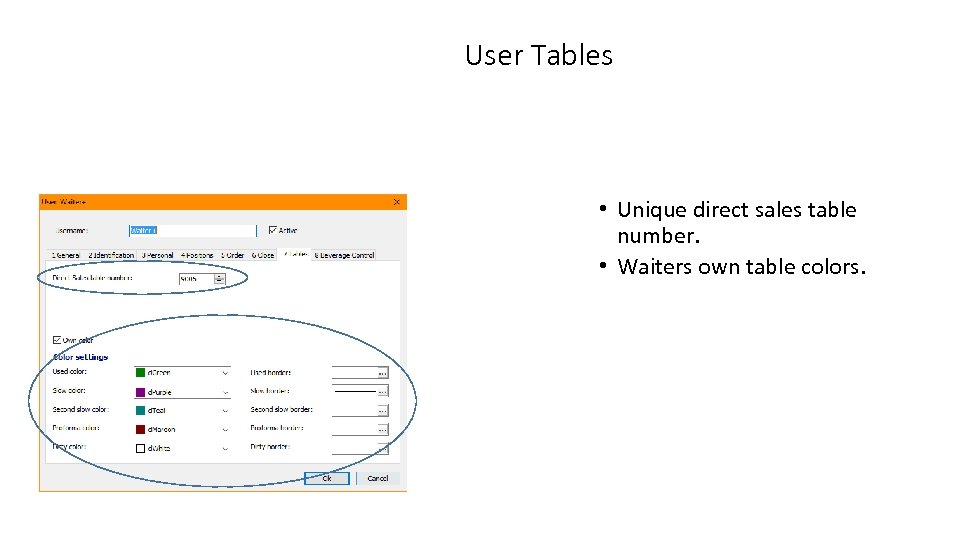 User Tables • Unique direct sales table number. • Waiters own table colors.
