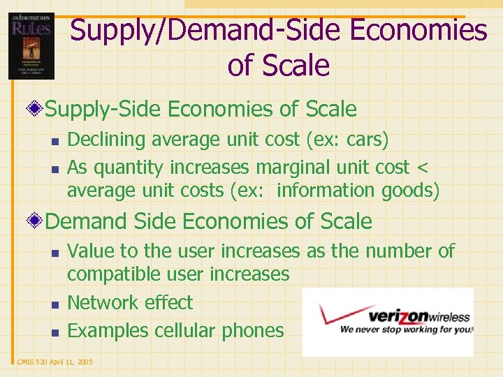 Supply/Demand-Side Economies of Scale Supply-Side Economies of Scale n n Declining average unit cost