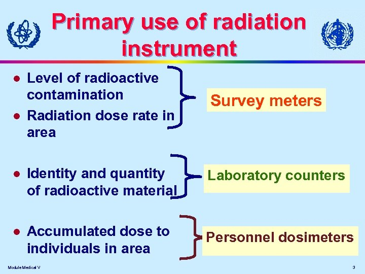 Primary use of radiation instrument Level of radioactive contamination Radiation dose rate in area