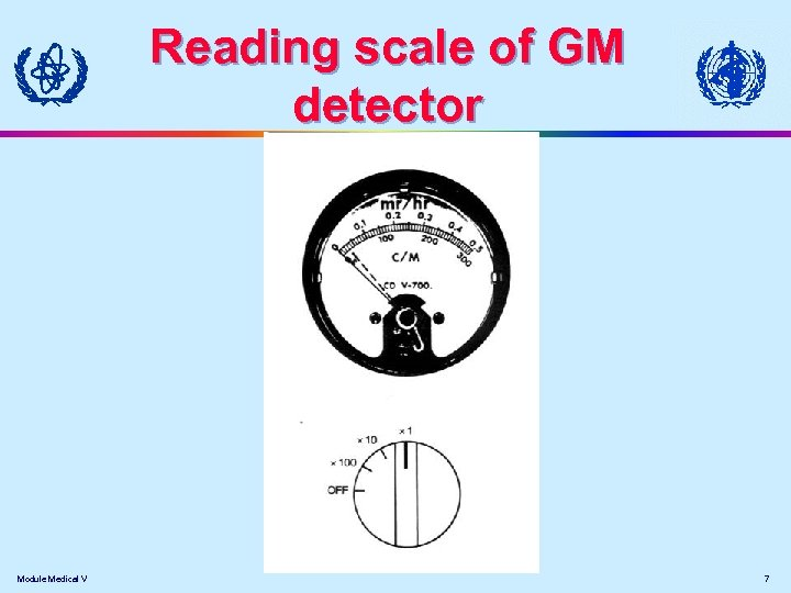 Reading scale of GM detector Module Medical V 7