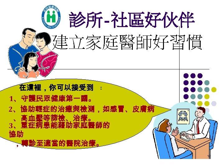 診所-社區好伙伴 建立家庭醫師好習慣 在這裡,你可以接受到 : 1、守護民眾健康第一關。 2、協助輕症的治癒與檢測,如感冒、皮膚病 、高血壓等篩檢、治療。 3、重症病患能藉助家庭醫師的 協助 ,轉診至適當的醫院治療。 12
