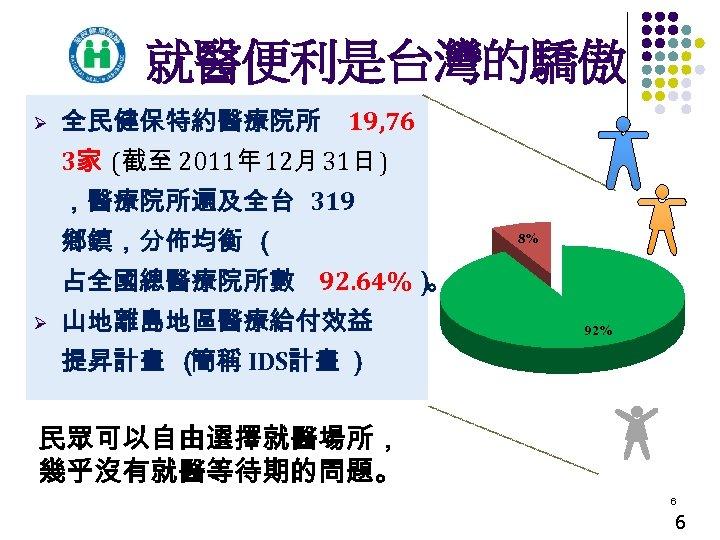 就醫便利是台灣的驕傲 Ø 全民健保特約醫療院所 19, 76 3家 (截至 2011年 12月 31日 ) ,醫療院所遍及全台 319 鄉鎮,分佈均衡