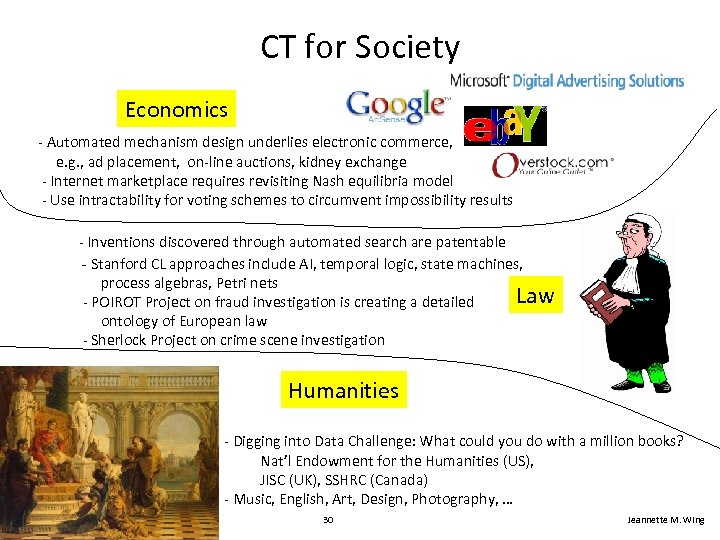 CT for Society Economics - Automated mechanism design underlies electronic commerce, e. g. ,