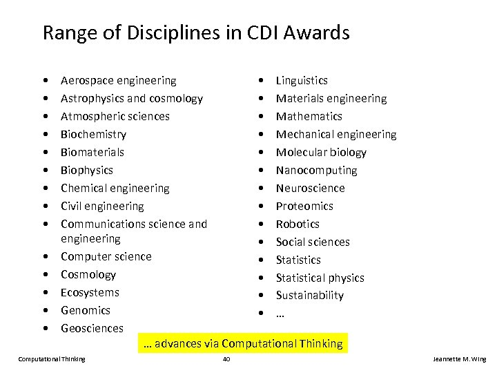 Range of Disciplines in CDI Awards • • • • Aerospace engineering • Linguistics
