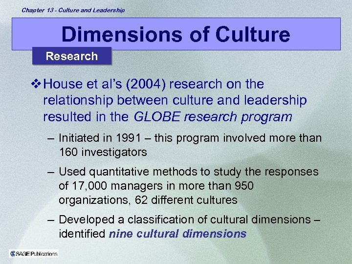 Chapter 13 - Culture and Leadership Dimensions of Culture Research v House et al's
