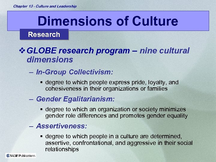 Chapter 13 - Culture and Leadership Dimensions of Culture Research v GLOBE research program