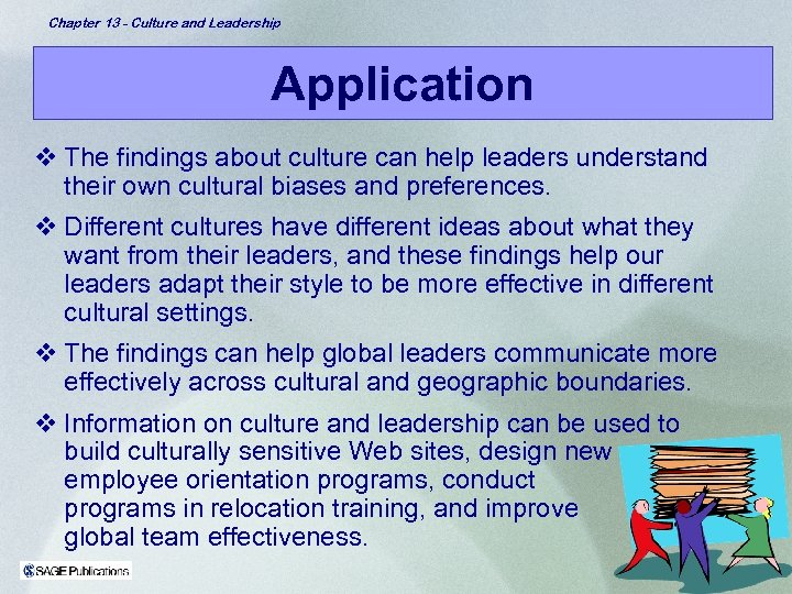 Chapter 13 - Culture and Leadership Application v The findings about culture can help