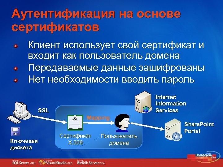 Аутентификация на основе сертификатов Клиент использует свой сертификат и входит как пользователь домена Передаваемые