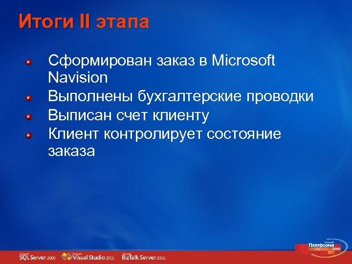 Итоги II этапа Сформирован заказ в Microsoft Navision Выполнены бухгалтерские проводки Выписан счет клиенту