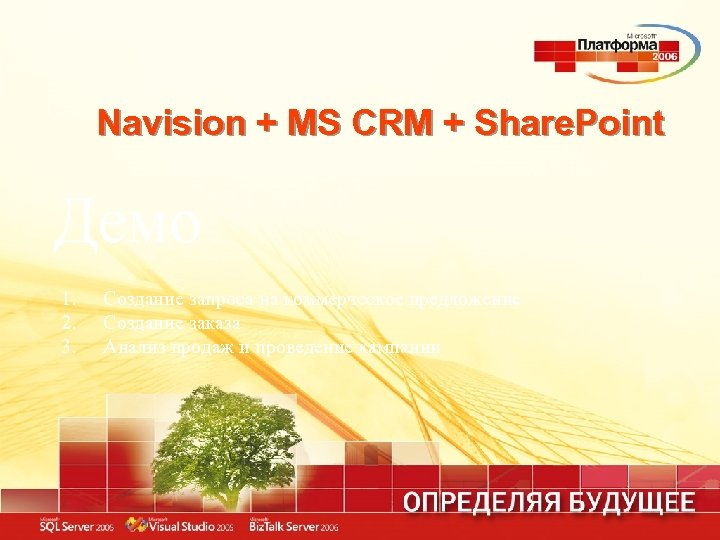 Navision + MS CRM + Share. Point Демо 1. 2. 3. Создание запроса на