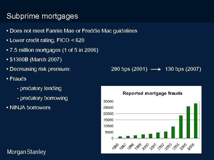 3/18/2018 Subprime mortgages • Does not meet Fannie Mae or Freddie Mac guidelines •