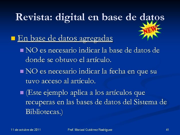 Revista: digital en base de datos n En base de datos agregadas n NO