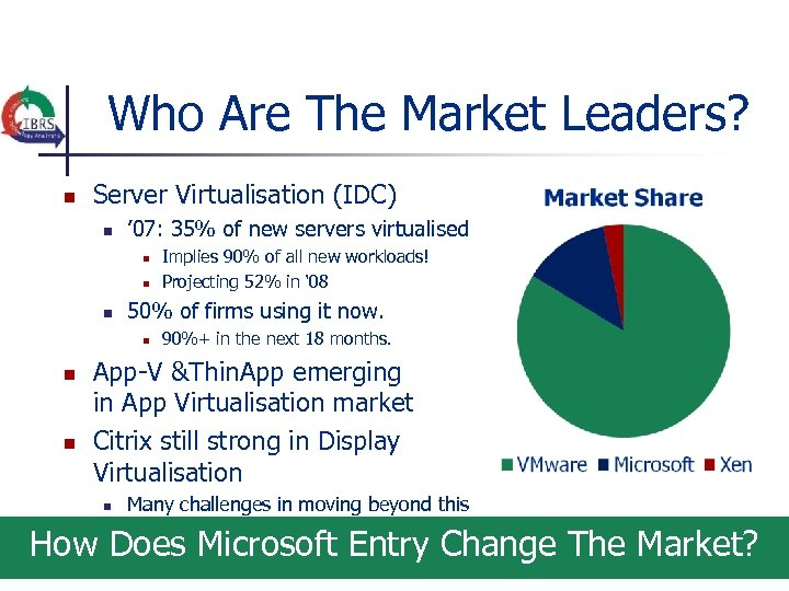 Who Are The Market Leaders? n Server Virtualisation (IDC) n ' 07: 35% of