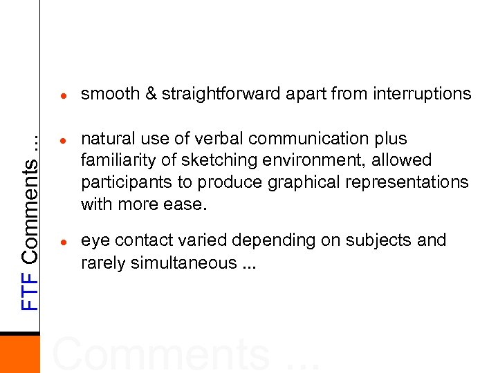 FTF Comments. . . l l l smooth & straightforward apart from interruptions natural